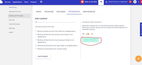 cloudways server settings and packages